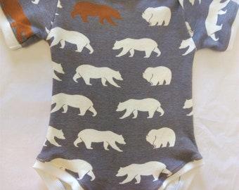 ORGANIC Baby Bodysuit Bears - Multiple Sizes - HANDMADE