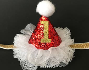 Red Glitter Cone Hat,Kids Baby Christmas Photo Prop,Elastic headband,Christmas Party,gift for grand daughter,christmas birthday,Santa hat
