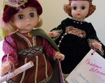Madame Alexander,Christopher Columbus-328,Queen Isabella-329,1992,blonde,blue eyes,red hair,green eyes,original clothing,boxes,wrist tags