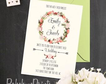 Barn Wedding Invitation Shabby Chic Wedding Invitation Rustic Floral Wedding Invitation Country Wedding Invitation Suite Wreath Invitation