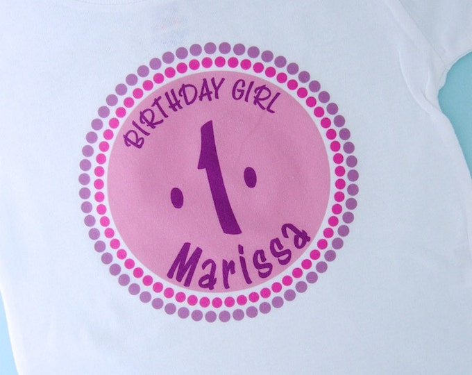 Girl's Birthday Shirt or Onesie, Personalized Birthday Shirt, Pink Circle Shirt with Age Pink and Purple 10192010a