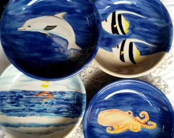 Ocean sea life turtle dolphin sunset barrel wave ceramic shallow bowl for surfers oceanographer marine biologists Pacific vacation fish bowl