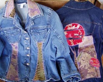 Curvy-cut Denim Silk Applique Medium size Jacket