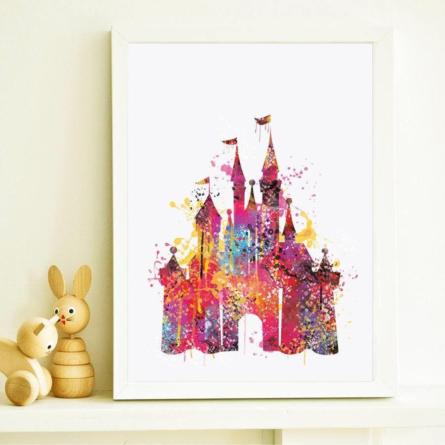 Disney Schloss Aquarell Druck Disney Kinderzimmer Kunst