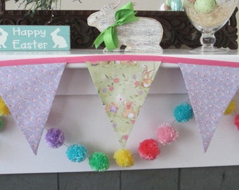 Easter bunting, bunny banner, Easter garland, Easter mantel banner, Easter garland, Easter bunny banner, Easter decor, fabric Easter banner