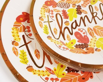 Sale 20 THANKFUL PAPER PLATES Thanksgiving Friendsgiving Dinner Paper Plates Thankful Copper Tableware Harvest Fall Autumn Decorations  sc 1 st  Etsy & Thanksgiving plates | Etsy