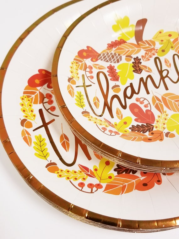 Sale 20 THANKFUL PAPER PLATES Thanksgiving Friendsgiving Dinner Paper Plates Thankful Copper Tableware Harvest Fall Autumn Decorations from TheFulfilledShop ...  sc 1 st  Etsy Studio & Sale 20 THANKFUL PAPER PLATES Thanksgiving Friendsgiving Dinner ...