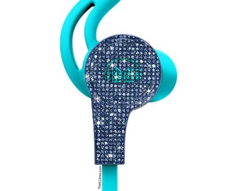 Custom Blue Monster Earphones with Swarovski,Bedazzled Monster Earphones with Crystals, Custom Monster earphones, Monster earphones