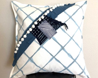 Hand Painted Indigo & White pillow cover with mud cloth and pom pom detail