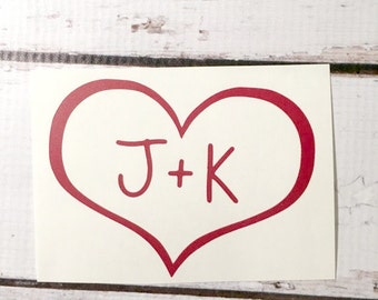 Heart Initials Vinyl Decal Love Sticker Personalized Romantic Sticker Wedding Decal His Hers Decal Sticker