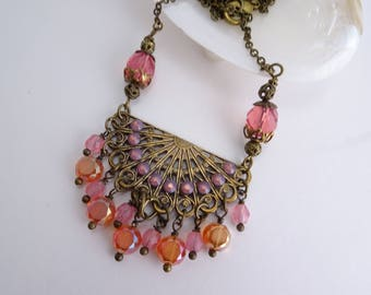 Coral Hues Rhinestone Necklace Statement Necklace