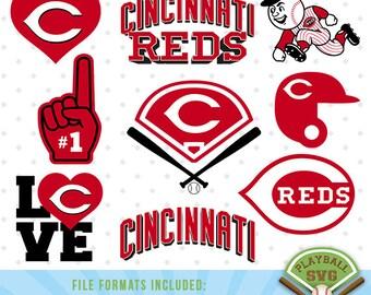 Cincinnati Reds SVG files, baseball designs contains dxf, eps, svg, jpg, png and pdf files. PB-004