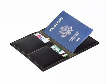 Passport Cover,  Passport Holder,  Wallet, Travel Wallet, Gift for Him - Black Saddle Leather
