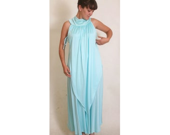 Vintage 1970s Tiered Sleeveless Turtleneck Teal Sky Blue Long Empire Maxi Dress size 10