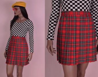 80s High Waisted Plaid Pleated Skirt/ 24-28 Waist/ 1980s/ Tartan/ Clueless
