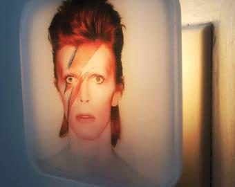 David Bowie Night Light, Alladin Sane, Ziggy Stardust, David Bowie Art, 70s, 80s, Retro decor, Lightening Bolt, Glam Rock, Mothers Day