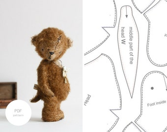 PDF Sewing Pattern & Tutorial Mohair Teddy Bear 8 Inches Stuffed Animal Pattern Artist Teddy Bear Pattern Pdf Sewing Pattern For Women
