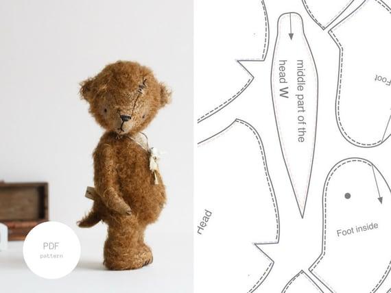 PDF Sewing Pattern & Tutorial Mohair Teddy Bear 8 Inches Stuffed ...