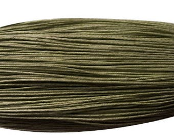 waxed cotton cord 0,7mm olive green dark 10m