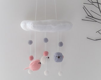 Baby nursery mobile - birds, felt balls and cloud nursery decor.