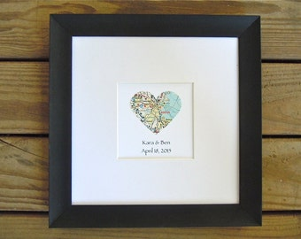 Framed Heart Map With Text - Map Decor - Customized Names and Date - Valentine's Day Gift - Wedding Gift - Engagement Gift - For Couples