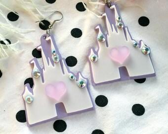 Pastel Castle Acrylic Earrings