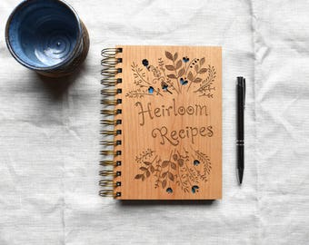 Heirloom Recipe Notebook. Wooden Notebook. Personalized Spiral Notebook Wedding Gift.