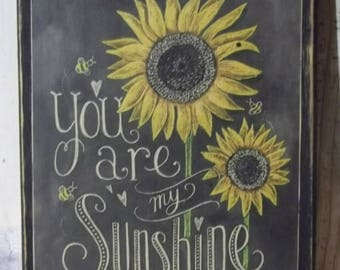 You Are My Sunshine Country Primitive Farmhouse Sunflower Wood Print Block