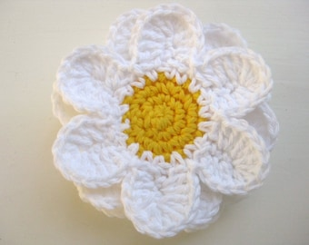 Crochet Flower Coasters-Set of 6-White, Yellow - Crochet Coasters - Daisy Coaster Set - Crocheted Flower Coasters - Flower Coasters