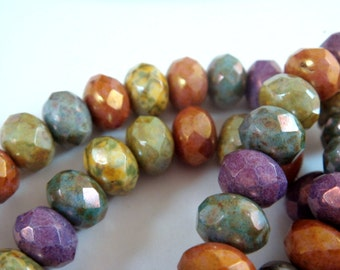 25 Opaque Picasso Luster Czech Beads Autumn Gemtone Rondelle Assortment 9x6mm 1mm hole - Full Strand - 25 pc - G6041-MIX25