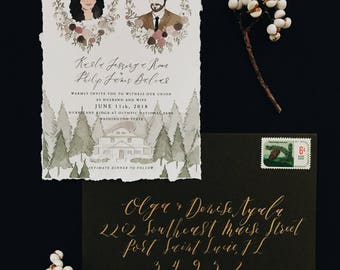 Illustrated Wedding Invitation with Hand-Torn Deckled Edge | Custom Hand Drawn Stationery Suite for Weddings & Special Events