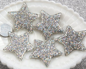 Resin Star Charms - 40mm Silver Glitter Stars Resin Charms - 4 pc set