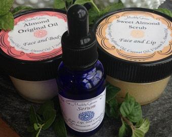 Complete Facial Gift Set by Maddy Grace.  Sugar scrub, moisturizing oil, anti-aging serum.