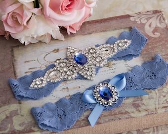 Blue Wedding Garter Set. Blue Lace Garter Set Lace Wedding