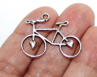 BULK 30 Bicycle Charms Antique Silver Tone - CH307