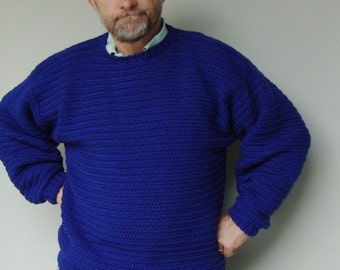 Men's Sweater, Blue Sweaters, Men's Wool Sweater, Wool Sweater Men, Crewneck Sweater, Royal Blue Sweater, Available in M and L/XL