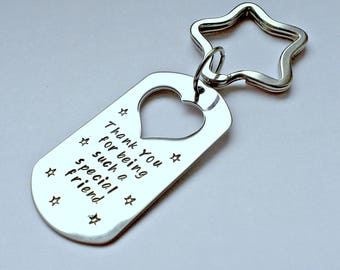 Personalised friend keyring - unique friend gift - friend thank you gift - friend birthday present - friend christmas gift - gift for her