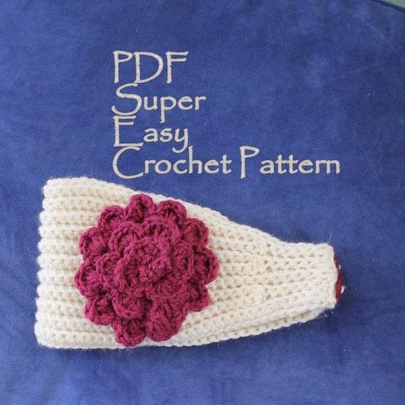 Crochet Pattern Super Easy Crochet Headband With Flower Pdf