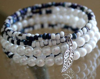Blue and White Seed Bead and Glass Pearl Wrist Wrap Cuff Bracelet