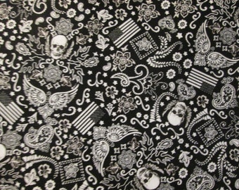 Winged Skull Tattoo Skulls Wings Black White Cotton Fabric Fat Quarter Or Custom Listing