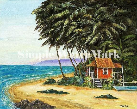 Tropical Beach Huts: Home Decor Beach Hut 8x10 Tropical Beach Art