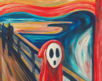 The Scream Print - Shy Guy Painting - Alternative The Scream - Shy Guy Art - Nintendo Art - The Scream Parody - Video Game Art - Fan Art
