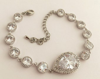 Crystal Teardrop Bridal Cubic Zirconia Bracelet Wedding Clear Crystal Bracelet Rhodium Crystal Wedding Jewelry