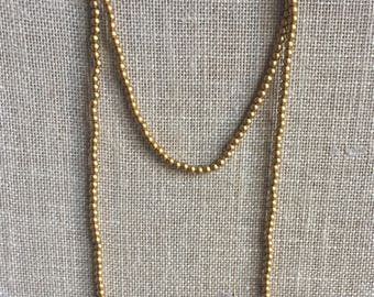 Double wrap necklace, Vandy necklace, 6mm round Metalic gold necklace, Gold beaded necklace, Long necklace.