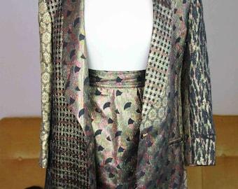 Moschino Costume Vintage 1980s Skirt Blazer New Years Smoking Suit Glitter
