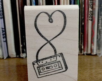 Mix Tape Heart Rubber Stamp, Retro Cassette Tape Collector Stamp, Music Rubber Stamp, Mixtape Stamp, Small block stamp