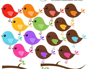 Birds Clipart Set - clip art set of rainbow birds, branches, birds and branches - personal use, small commercial use, instant download