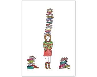 Bookworm print, various sizes