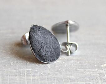 black concrete tear drop earrings, concrete jewelry, cement jewelry, cement earrings, minimalist jewelry, unique gift, mothers day