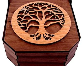 Sustainable Wooden Box - Tree of Life - Oak on Walnut - Jewelry Box